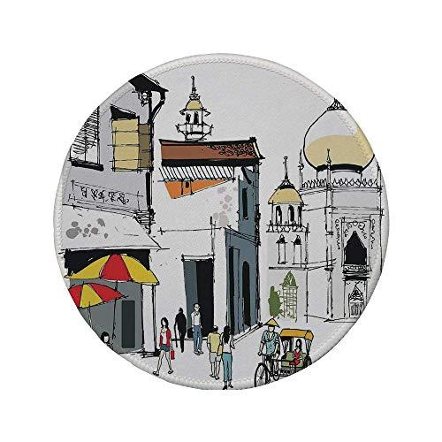 Rutschfreies Gummi-rundes Mauspad asiatische handgezeichnete Illustration des alten Singapur-traditionellen Bau-Menschen Regenschirme Reisen mehrfarbig 7.9