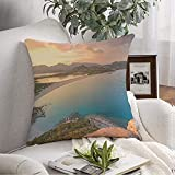 Funda de almohada decorativa suave de esta nube de piedra de playa por Famous That Hill Beyond National Borders Junipers Nature Holidays 45,7 x 45,7 cm