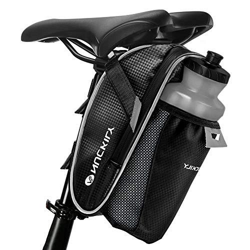 Fahrrad Satteltasche, otumixx Fahrradtasche Wasserdichte Rahmentasche Satteltasche Fahrrad Tasche Mountainbike Bag mit Rücklichthalter und reflektierende Elemente für Mountainbikes Rennräder, Schwarz