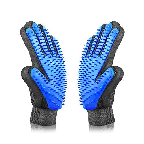 Pet Grooming Glove Gentle Deshedding Brush Bathing Massage Gloves Efficient Pets Hair Remover Mitt Perfect- 1 Pair - You and Your Pet Deserve The Very Best