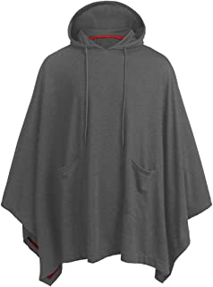 Unisex Casual Hooded Poncho Cape Cloak Hoodie Loose Fit Hooded Cloak Solid Color Simple Style Long Sleeves Poncho with Two...