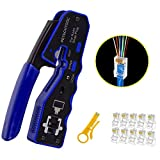 RJ45 Crimper Tool Kit, All-in-one Stripper Cutter Crimper Tool for RJ45 Cat6 Cat5 Cat5e Pass-Thru Connectors with 10 Pieces Cat6 Ends,and 1 Piece Mini Wire Stripper