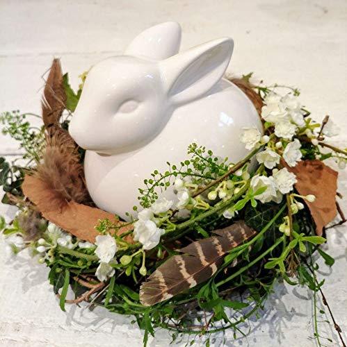 Unbekannt | PAT Deko Hase Weiß H 16 cm mit Nest | Hasenfigur Sitzend Hasennest | Keramik Glasiert Glänzend | Ostern Osterdeko Frühlingsdeko