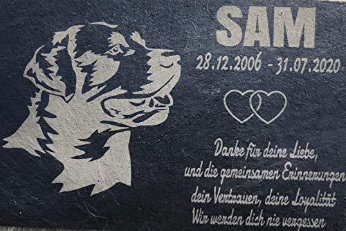 Placa conmemorativa para lápida de animales con pizarra grabada 30 x 20 cm resistente a la intemperie - Texto y foto individuales