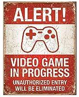 アメリカ雑貨 ブリキ看板 ALERT VIDEO GAME IN PROGRESS 警告 テレビゲーム中につき許可なき入室は禁止 インテリア 雑貨 人気 デザインボード TINプレート 男前 サインプレート インテリア ガレージ ポスター ブリキ 看板 おしゃれ
