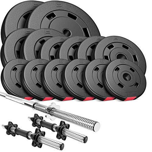Hop-Sport Hantelset 58 kg, 1x Langhantel-Stange, 2X Kurzhanteln, Hantelscheiben 2x10kg/2x5kg/4x2,5kg/6x1,25kg
