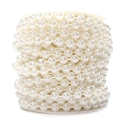 Sepkina, filo di perle decorative, adatto per il Natale, l'Avvento, i matrimoni e come decorazione per la tavola S-p6-01-weiss-10m