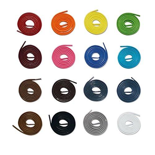 McLaces 1 Paar gewachste Schnürsenkel 3 oder 4 mm, 100% Baumwolle, Waxed Laces (3mm 90 cm, Leuchtend orange)