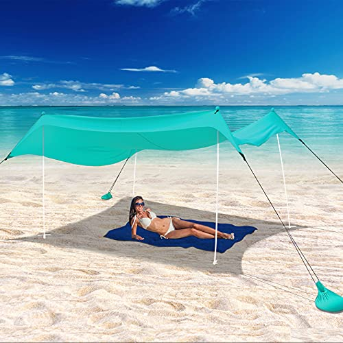 UBOWAY Beach Tent Sun Shade: Portable Pop Up Canopy Large Lightweight Camping Shelter for Family with Sand Anchor 10X10 FT with 4 Poles