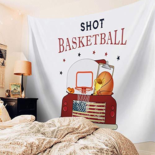N\A Tapiz Colgante de Pared Decoración de camión Rojo Tapiz Impreso Tapiz de Pared para niños Niñas Habitación de niños Dormitorio Sala de Estar Dormitorio Canasta Tiro Baloncesto Deportes Rayas