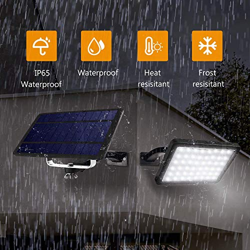 1000 Lumens 48 LED Solar Lights Outdoor Bright JACKYLED Solar Powered Porch Lights with 5500mAh Battery, Wall Mount Auto Dusk to Dawn Security Lighting for Front Door Shed Patio Barn Garage (Black)