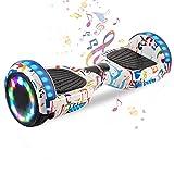 HappyBoard 6.5'' Hoverboard Patinetes de Acrobacias Patinete Eléctrico Bluetooth Monopatín Scooter Autobalanceado, Ruedas de Skate con luz LED, Motor Bluetooth de 700W (Graffiti)