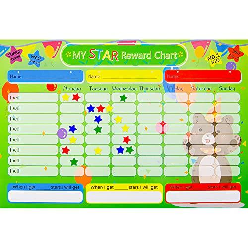 4 Tablas de Recompensas de Estrellas con Pegatinas, Tabla de Estrellas de Responsabilidad de Aprendizaje Tabla de Recompensas Autoadhesivas Reutilizables Estudiar en Casa y Clase, 30 x 20 cm
