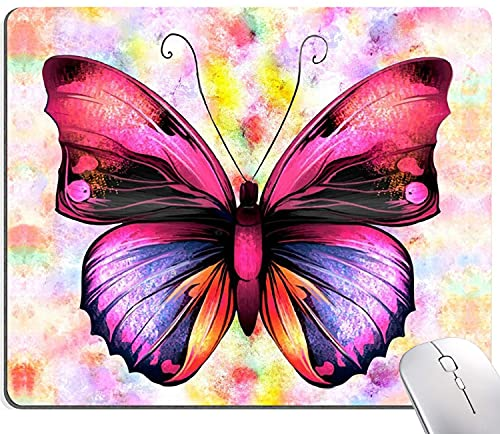 Pretty Butterfly Mouse Pad, Rainbow Background Mouse Pad, Personalized Waterproof Mousepad Rectangle Customized Mouse Pads with Designs Non-Slip Rubber Smooth MousePads for Computer Office Laptop