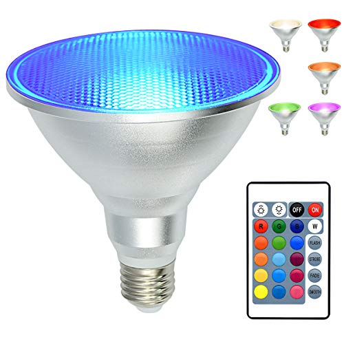 PAR38 Led Floodlight Bulb 20W RGB Color Changing Light Bulb with Remote Control, Kuniwa Spotlight E26 Dimmable Light Bulb , IP65 Waterproof Light Screw for Lawn Home Living Room Party Decoration
