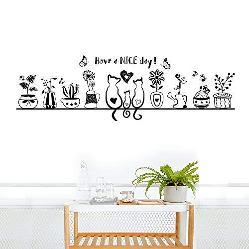 Pegatinas Pared Decorativos Infantiles Niños Vinilos Pared Gatos Macetas Flores Mariposas Stickers Adhesivos Habitación Dormitorio Salón Ventana