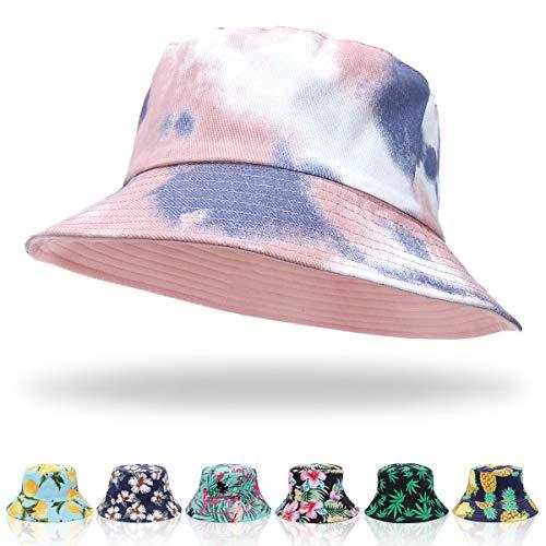ECOMBOS Fischerhut Damen Bunt - Unisex Sonnenhut Bucket Hat Anglerhut Fishermütze Muster Früchte Outdoor Sommerhut (Pink + Blau)