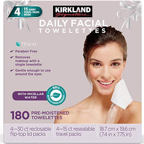 Kirkland Signature Micellar Toallitas de Limpieza Facial Diaria, 180 Unidades