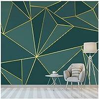 3Dの壁紙写真壁紙 ゴールデンライン カスタム壁画 リビングルームテレビソファの家の装飾 -280x200cm/110x79inch