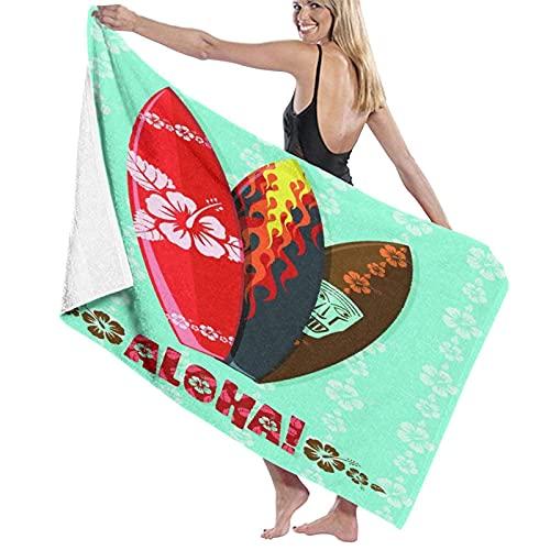 DJNGN Toalla de Arena Toalla de baño Tablas de Surf Aloha Modernas, Secado rápido, Alta absorción, Toallas de baño Ligeras y Suaves, Baños de natación, Camping, Yoga, Fitness, Toallas de baño para el