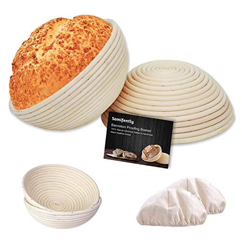 Somifently Banneton Proofing Basket for Sourdough Set of 2 Bread Basket 9 Inch + 10 Inch Round with Linen Liner Cloth for Bread Baking