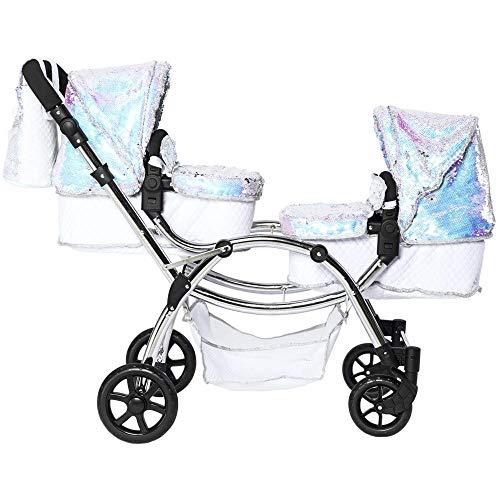 Roma Amy Polly Sparkle Doppel-Puppenwagen für Kinder, 2-in-1 Kinderwagen und Babytragetasche, Meerjungfrau-Motiv, 3-16 Jahre