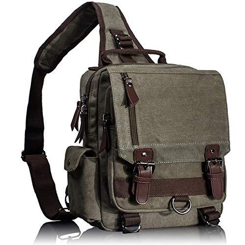 TnXan Rucksack Canvas Crossbody Bags for Men Women Retro Leather Military Messenger Chest Bag Shoulder Sling Bag Large Capacity Handbag