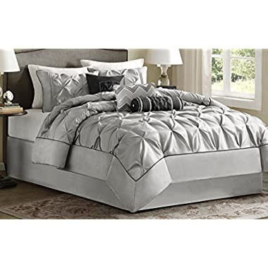 Madison Park Laurel Queen Size Bed Comforter Set Bed In A Bag - Grey, Wrinkle Tufted Pleated – 7 Pieces Bedding Sets – Faux Silk Bedroom Comforters