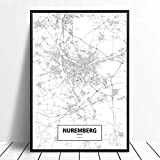 Leinwanddruck,Nürnberg Schwarz Weiß Benutzerdefinierte