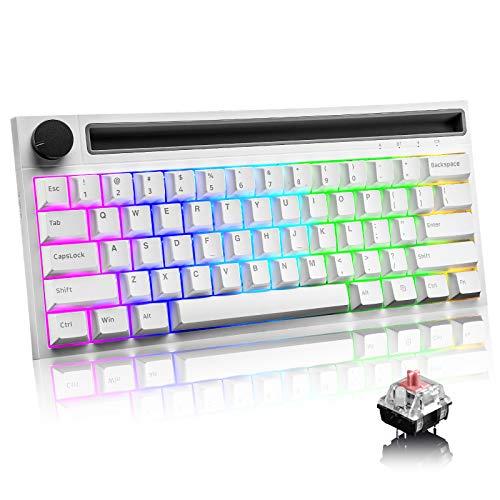 RGB Teclado mecánico , RK61 con cable / inalámbrico Teclado Bluetooth 61 teclas Teclado LED para juegos con retroiluminación a prueba de agua Anti-efecto fantasma (Interruptor blanco / azul)