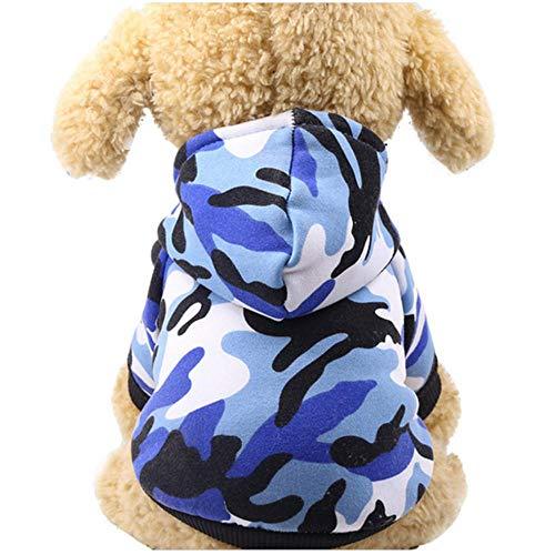 MRQXDP Blaues Tarn-Sweatshirt Hundekleidung für Haustier Hund Weiche Weste Kleidung Welpe mit Hut Kleidung Brustumfang 51cm Rückenlänge 36cm