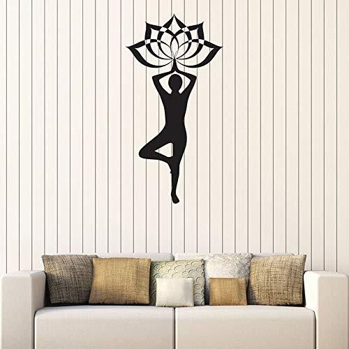 Yoga Pose pared calcomanía Spa salón relajación meditación habitación decoración interior vinilo ventana pegatina silueta papel tapiz arte