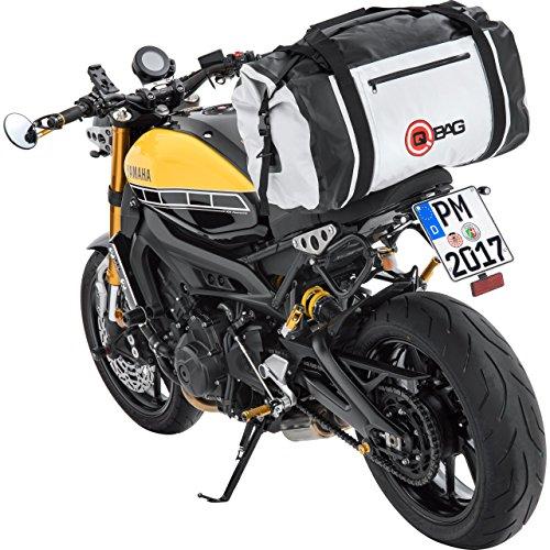QBag Hecktasche Motorrad Motorradtasche Hecktasche/Gepäckrolle wasserdicht 04, widerstandsfähig, reißfest, anklickbarer Schultergurt, universelle Passform, Hellgrau, bis zu 80 Liter