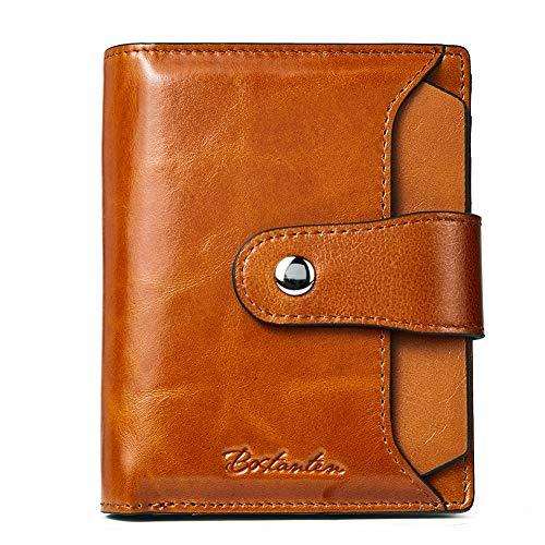 BOSTANTEN Damen Echtes Leder Geldbörsen RFID Slim Wallet 10 Kartenfächer Portemonnaie Kleingeldfach mit Reißverschluss Braun