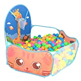 DERCLIVE 1PCS Kids Children Folding Cartoon Play Tent Pit Pool with Basketball Hoop