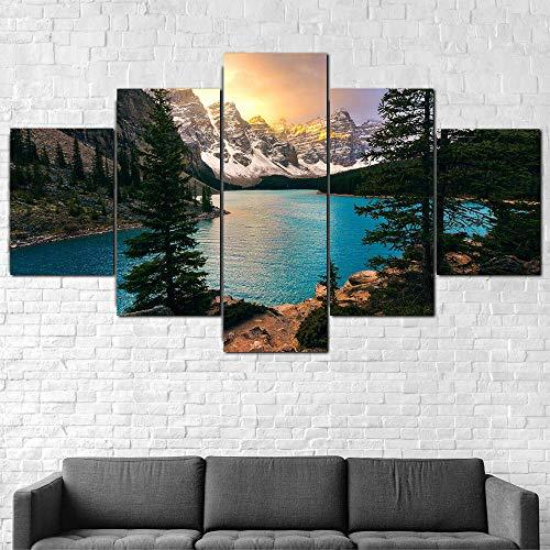 Cuadro Sobre Lienzo 5 Piezas Impresión En Lienzo Ancho: 150Cm, Altura: 100Cm Listo Para Colgar-Parque Nacional Moraine Lake Banff En Un Marco