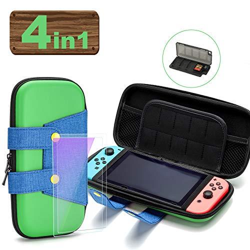 ARLTTH Estuche portátil para Nintendo Switch, carcasa rígida protectora de lujo con [2 * vidrio templado] [1 * bolsa de almacenamiento del cargador] Estuche portátil de viaje para Nintendo Switch