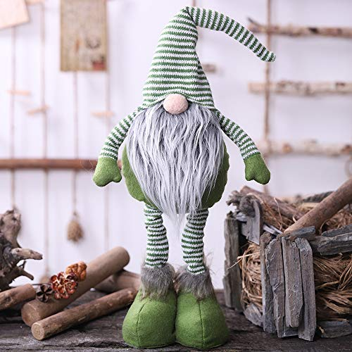 Oternal Handmade Swedish Gnome, Scandinavian Tomte, Yule Santa Nisse, Nordic Figurine, Plush Elf Toy, Home Decor, Winter Table Ornament, Christmas Decorations, Holiday Presents - 24 Inches (Green)