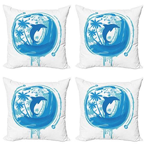 ABAKUHAUS Delfín Set de 4 Fundas para Cojín, Estilo marítima exótico, Estampado Digital en Ambos Lados y Cremallera, 40 cm x 40 cm, Azul Turquesa