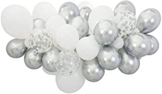 White Silver Balloon Garland Kit, 60PCS 12Inch Balloon Garland Including Silver, White & White Silver Confetti Balloons Decorations Backdrop Ideal for Wedding Birthday Baby Shower Bridal Party Decor