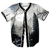 T-Shirt Uomo 3D Stampato Estate Casuale Manica Corta Maglietta da Baseball Hip Hop Tops (Foresta grigia, Large)