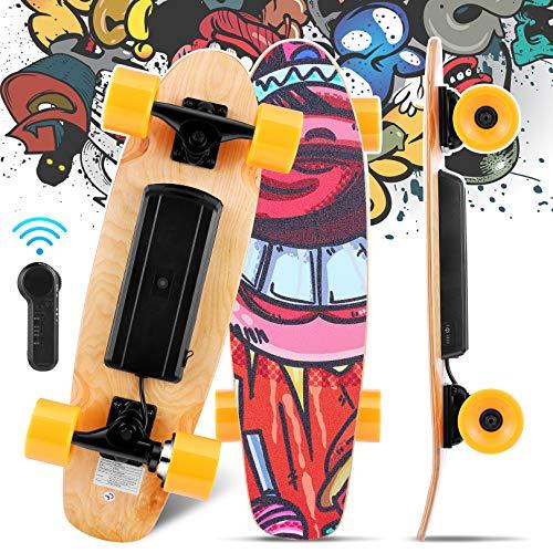 Monopatín eléctrico de 3 velocidades, con Control Remoto inalámbrico, 20 km/h, monopatín eléctrico de Arce de 7 Capas para Adolescentes y Adultos (Naranja)