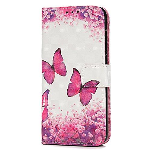 Honor 9 Lite Hülle, 3D stoßfest, PU Leder Flip Notebook Wallet Case mit magnetischem Ständer Kartenhalter Slot Weiche TPU Bumper Folio Schutzhülle für Huawei Honor 9 Lite Rose Red Butterfly