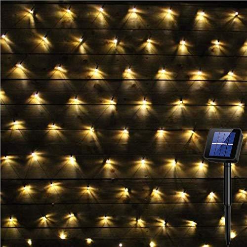 Solar Powered 200Led Net Light Mesh Fairy Light String Outdoor Waterproof,8 Light Modes,Auto On/Off,9.8ftx6.6ft Outside Garden Twinkle Light,Backyard Patio Balcony Wall Roof Curtain Decor(Warm White)