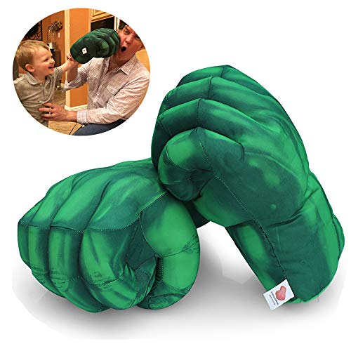 XZPP Kids Boxing Gloves, 1 Pair The Hulk Thanos Smash Hands Fists Big Soft Plush Costume Cosplay Superhero Toys Training Gloves for Children Kids, Teens, Girls Boys Birthday (Green) (Green)