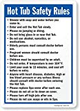 SmartSign-S-4896-Pl 'Hot Tub Safety Rules' Sign | 10' x 14' Plastic - Black/Blue on White