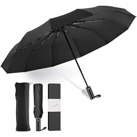 LDhome 折りたたみ傘 メンズ ワンタッチ 自動開閉 超撥水加工 梅雨対策 強風 210T高強度グラスファイバー 12本骨 118cm 晴雨兼用 UVカット