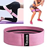 Veczom Resistance Bands for Legs and Butt, Fabric Workout Bands, Women Men Stretch Exercise Loops, Thick Wide Non-Slip Gym Bootie Band for Squat Glute Hip Training (Pink, Small)