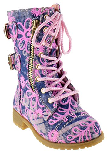 Mango 61K Little Kids Combat Lace Up Boots Denim Floral 3