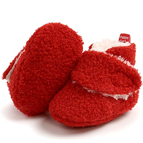 KIDSUN Newborn Infant Baby Boys Girls Fleece Booties Stay On Socks Soft Shoes Non Skid Winter Warm Christmas Slippers